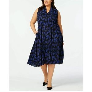 New Anne Klein delphine print blue black dress 1X